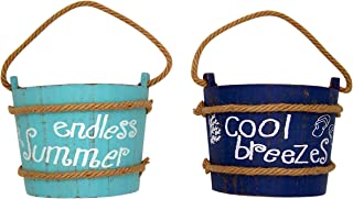Beach Themed Cool Breezes and Endless Summer Decorative Buckets, Wall Art, Assorted Set of 2, 7 Inches