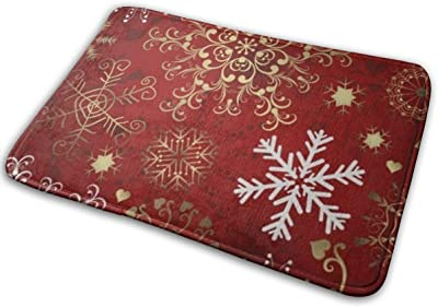 "Christmas SnowflakeDoormat Entrance Mat Floor Mat Rug Indoor/Bathroom Mats Rubber Non Slip (23.6""x15.7"",L x W)…"