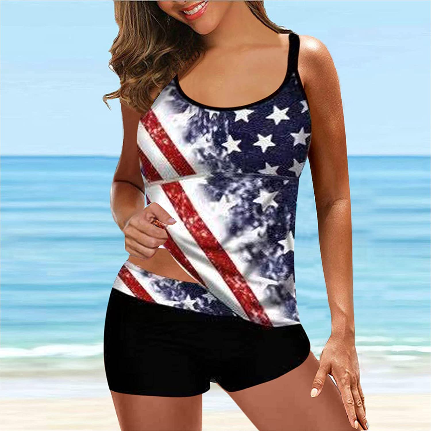 JINRS Womens Plus Size Blouson Tankini Tops with Two Piece Bathing Suits Trends Swimsuits High Waisted Bathing Suits