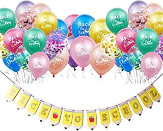 Back to School Latex Confetti Balloons Banner Decoration for First Day Classroom Decor Kindergarten Welcome Party Supplies Colorful
