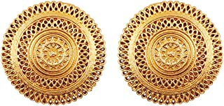 """Touchstone""""Tribal Bohemian Chic"""" Indian Bollywood artistic fringes motif designer jewelry earrings for women in antique gold tone"""