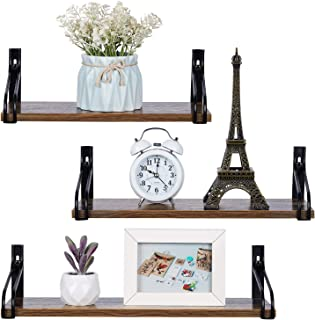 OVICAR Floating Shelves Wall Mounted Set of 3, Rustic Wood Storage Wall Shelves with Metal Brackets Rails for Bathroom Bedroom Living Room and Kitchen