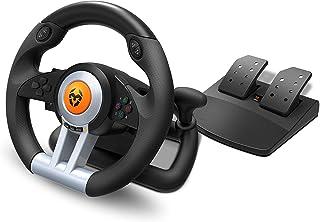 Krom K-WHEEL - NXKROMKWHL - Juego de volante y pedales Multiplataforma, palanca de cambios y levas en el volante, efecto v...