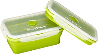 Prep-Ware Collapsible Food Containers - Set of 2 Large Containers - Great for Meal Prep, Box Lunch, Food Storage - Premium Quality, Food Grade Silicone, BPA Free, Microwave/Freezer/Dishwasher Safe