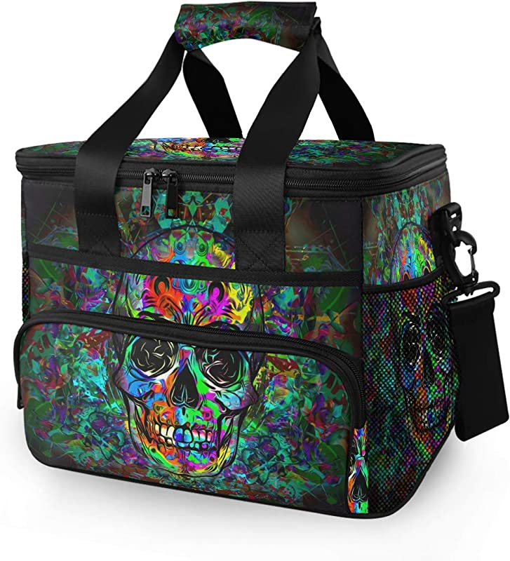 Baofu Large Skull Picnic Lunch Bag Insulated Reusable Tote Bag Freezable Portable Leakproof Lunch Box Waterproof Cooler Premium Basket For Picnic Travel Camping