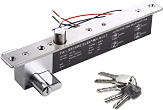 UHPPOTE DC12V Electric Drop Bolt Lock Key Open Fail Secure NO W/ Cylinder Time Delay