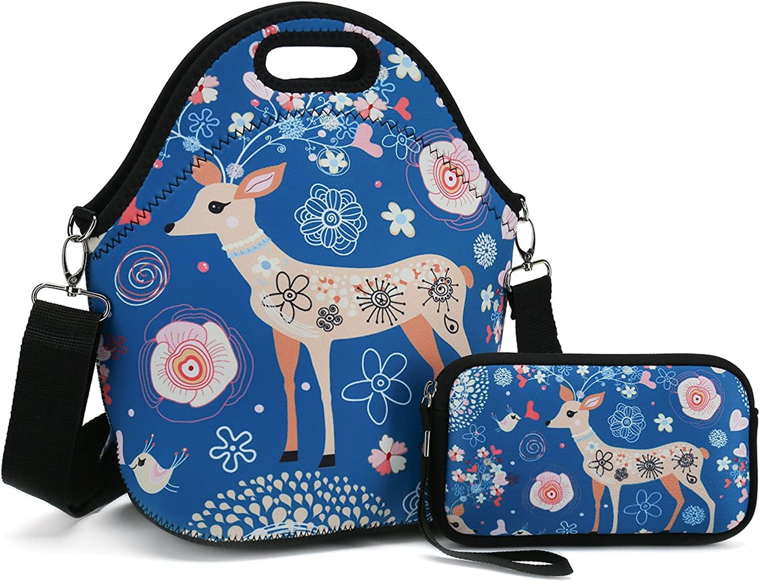 Insulated Neoprene Lunch Bag-Removable Shoulder Strap-X Large Size Reusable Thermal Thick Lunch Tote Lunch Box Cooler Bag with Wallet Pouch for Women,Teens,Girls,Kids,Baby,Adults (Cute Deer)