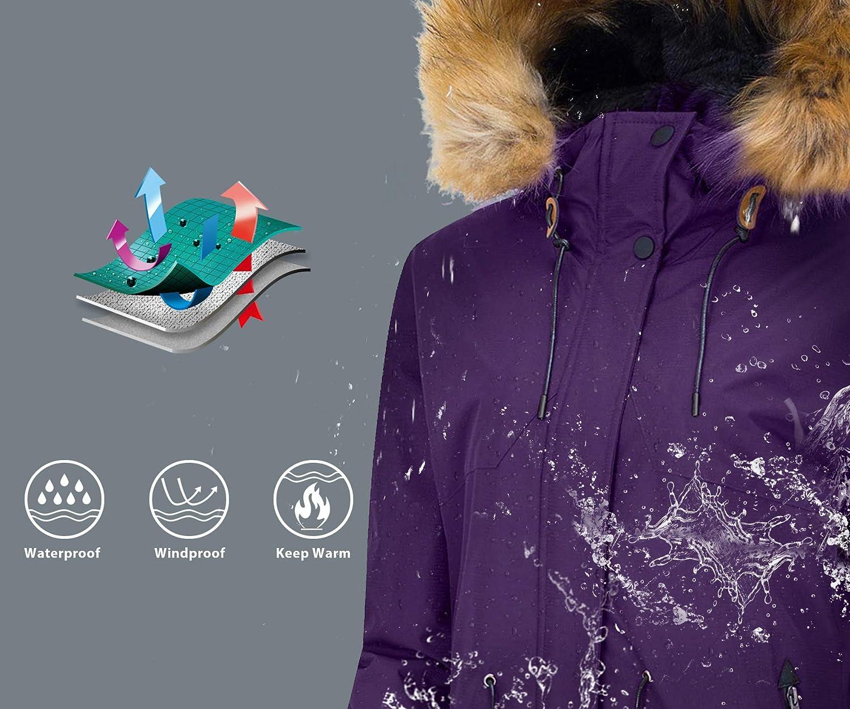Wantdo Damen wasserdichte Skijacke Winddichter Outdoor Sport Mantel Berg Snowboardjacken Gefüttert Jacke mit Kunstpelzhaube Lila
