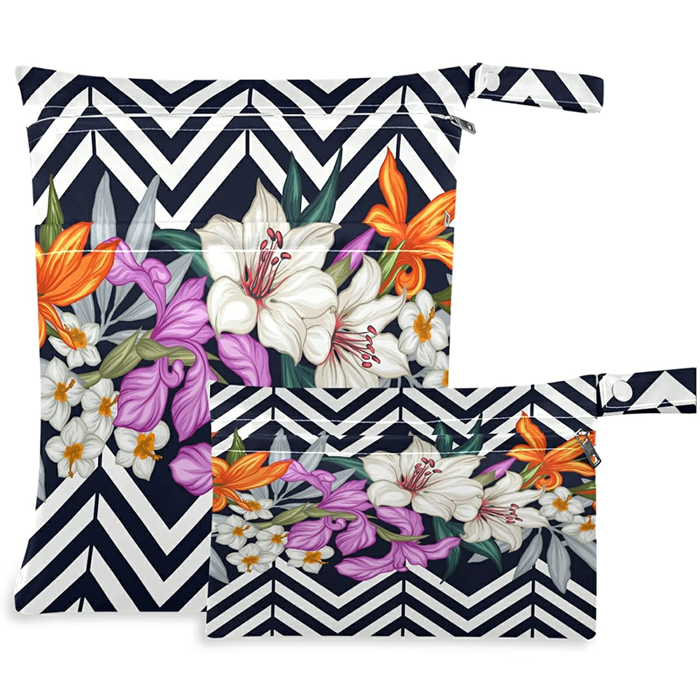 visesunny Flower Black White Wavy Max 78% OFF Stripe Zippe Bag 2Pcs Philadelphia Mall Wet with