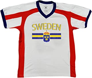 Sweden Flag and Country Emblem Men's Soccer Style Sport T-Shirt, Amdesco