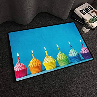 Xlcsomf Printed Door mat Birthday Easy to Clean Cupcakes in Rainbow Colors with Candles Fun Homemade Party Food Sweet Delicious Multicolor,W20 x L31