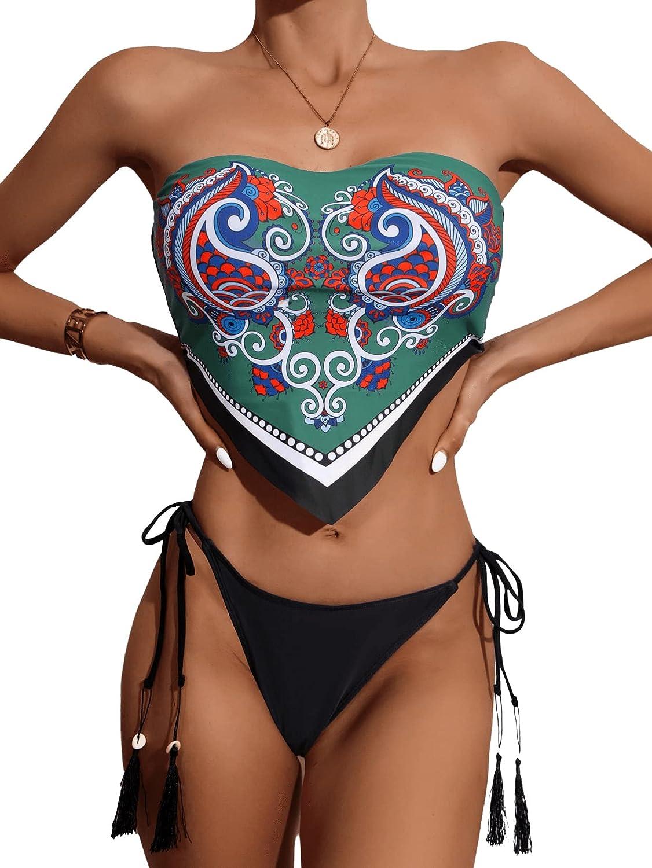 SweatyRocks Women's Boho Style Paisley Print Hanky Hem Tie Side Bikini Swimsuit