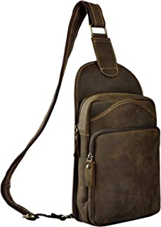 Le'aokuu Leather Sling Bag Cycling One Shoulder Strap Bag Backpack Waist Chest Bag Pack Casual Outdoor Sport Travel Hiking