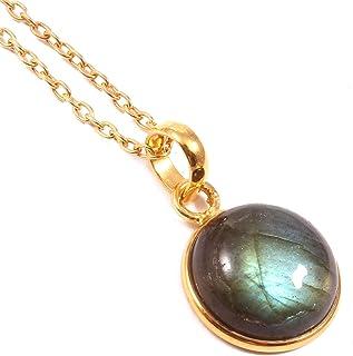 Ratnagarbha Blue Flash Labradorite Gold Necklace, Round Gemstone Pendant, Gold Necklace, Layering Necklace, Gem Necklace, ...