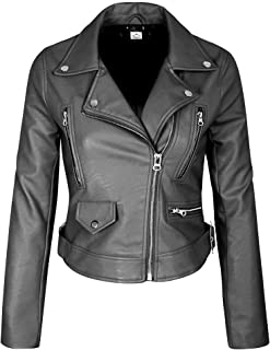 VearFit Women's Centiment Biker Moto Motorcycle Red, Pink, Tan and Black Real Leather Jacket
