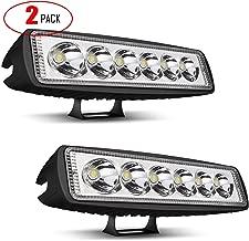TURBOSII LED Light Bar 2PCS 18W 6Inch Single Row Spot LED Work Light Pods Offroad Led Light Driving Light Fog Light Waterproof For Boat SUV ATV UTV 4WD Car Truck Golf Cart 12V-24V