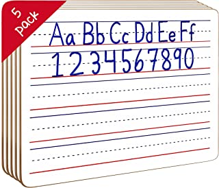 5 Pack Dry Erase Ruled Lap Boards l 9 X12 inch Lined Whiteboards (Double Sided White Boards)