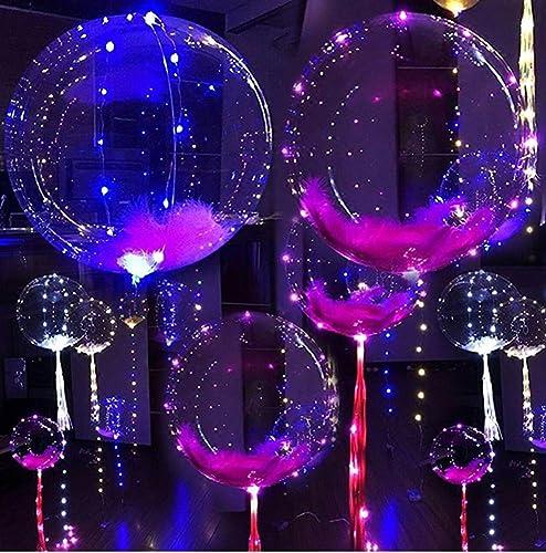 QINAIDI Transparente 18 Zoll Glühende Ballone LED-Licht Blinkt Bunte Feder Hochzeit Kinderzimmer Dekorationen
