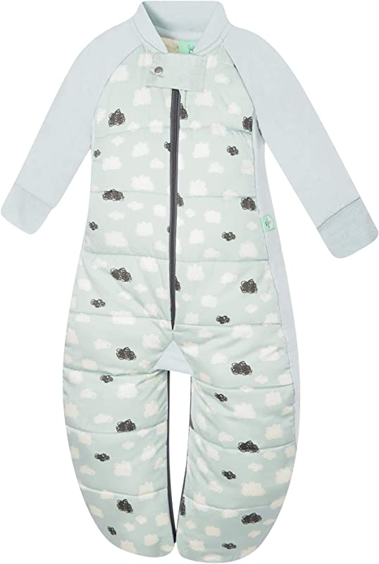 ErgoPouch 2 5 TOG Sleep Suit Bag 100 Organic Cotton Filling With Cotton Sleeves And Fold Over Mitts 2 In 1 Wearable Blanket Sleeping Bag Converts To Sleep Suit With Legs Mint Clouds 8 24 Months
