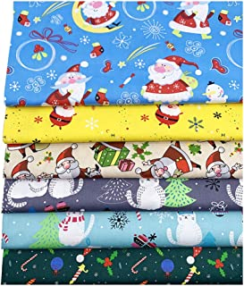 KESYOO 6 Peças de Tecido de Algodão de Natal Natal Gordo Quarto Feixes Pedaços de Pano de Patchwork Lavável Diy Costura Co...