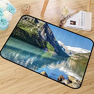 Lake House Decor Collection Area Floor Rugs Lake Louise in Banff National Park Dining Room Home Bedroom W59 x L94 Canada Lakeside Rocks Clear Water Scenic Picture
