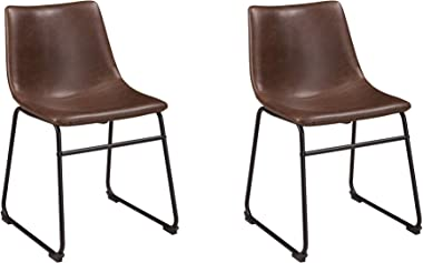 Ashley Furniture Signature Design - Centiar Dining Chairs - Set of 2 - Mid Century Modern Style - Black Metal Base - Brown Fa