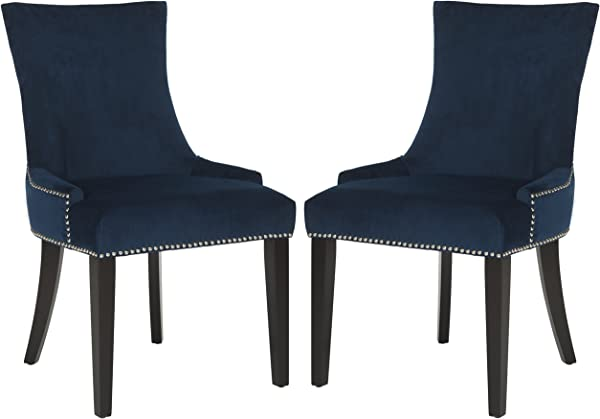 Safavieh Mercer Collection Lester Navy Espresso Dining Chair Set Of 2 Grey White