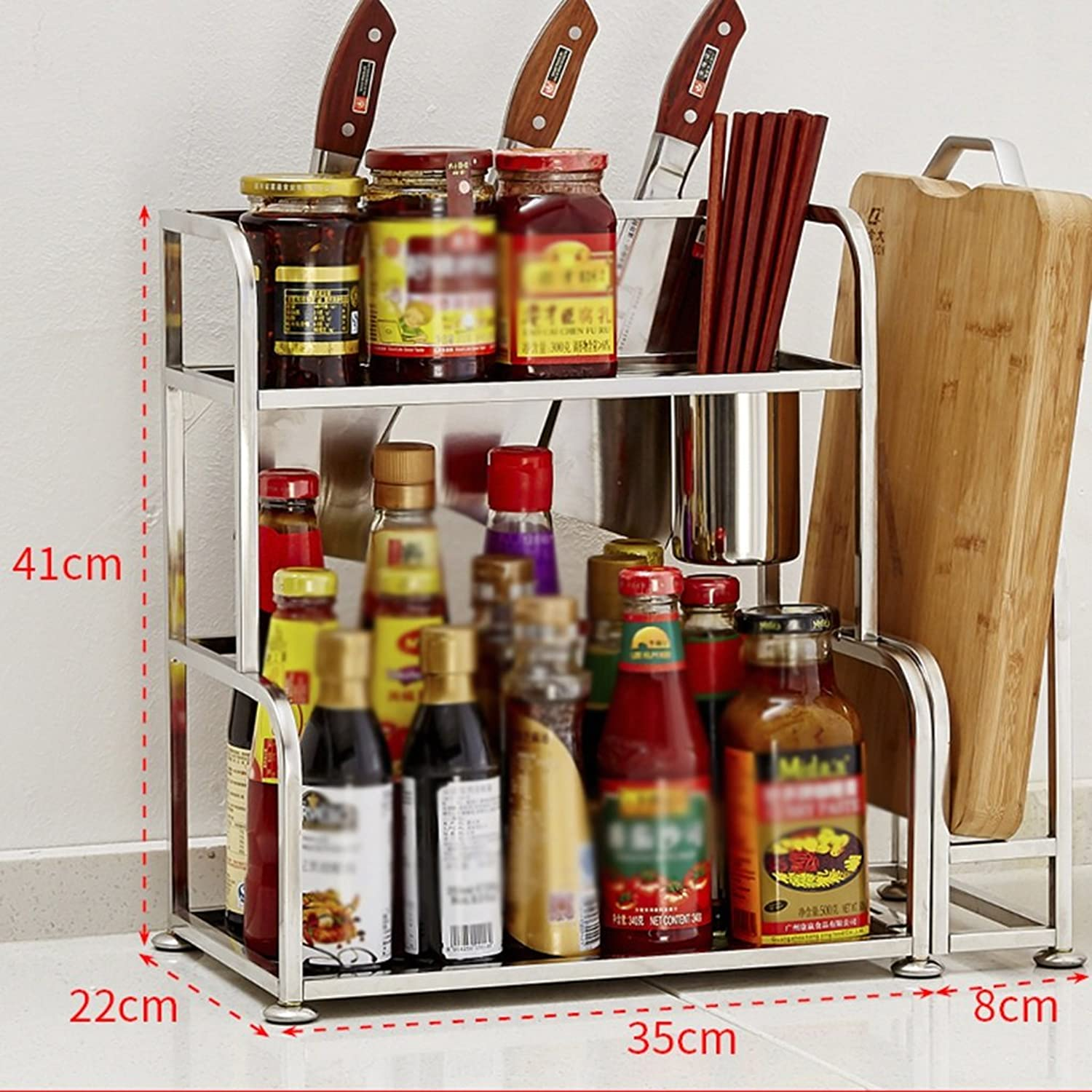 Shelf Stainless Steel Spice Rack Kitchen Articles Storage Rack Wall Hanging Landing Kitchenware (color   B, Size   Length 35cm)