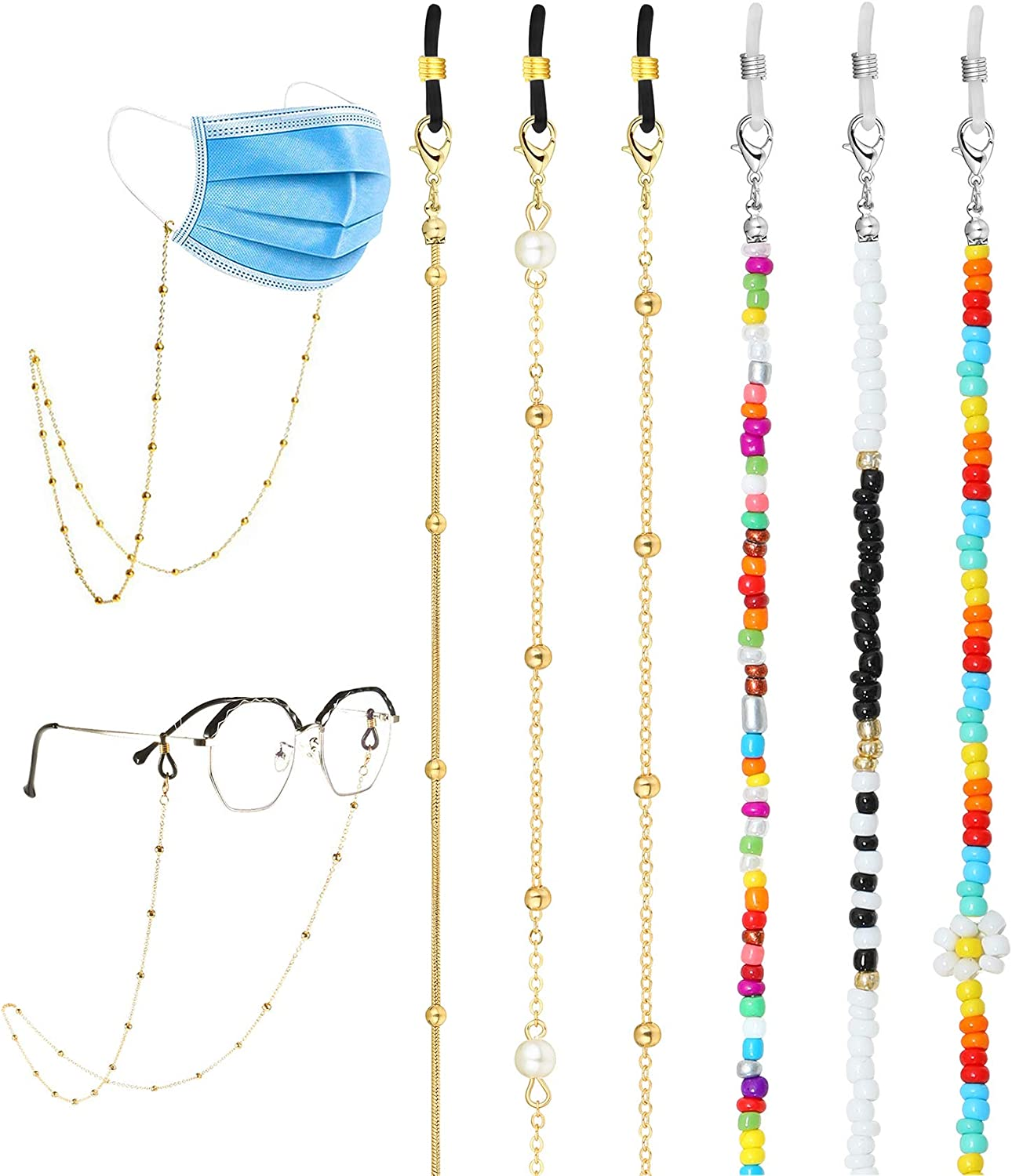 FUNEIA 4-6 Pcs Mask Chain Eyeglass Chain Lanyard for Women Men Mask Lanyard Eyeglass Holder Chain Strap Gold Link Necklace Around Neck Eyeglass Chain Retainer Hanger Keeper Accessory
