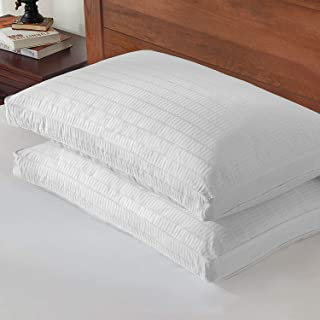 Basic Beyond Goose Down Feather Pillow - 2 Pack Luxury Gusseted Bed Pillows for Sleeping with 2 Pack 500TC 100% Cotton Pil...