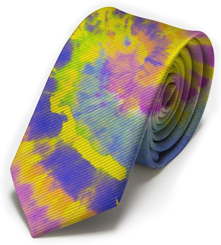 Blue Purple Tie Die Spiral Mens Classic Color Slim Tie, Men's Neckties, Fashion Boys Cravats