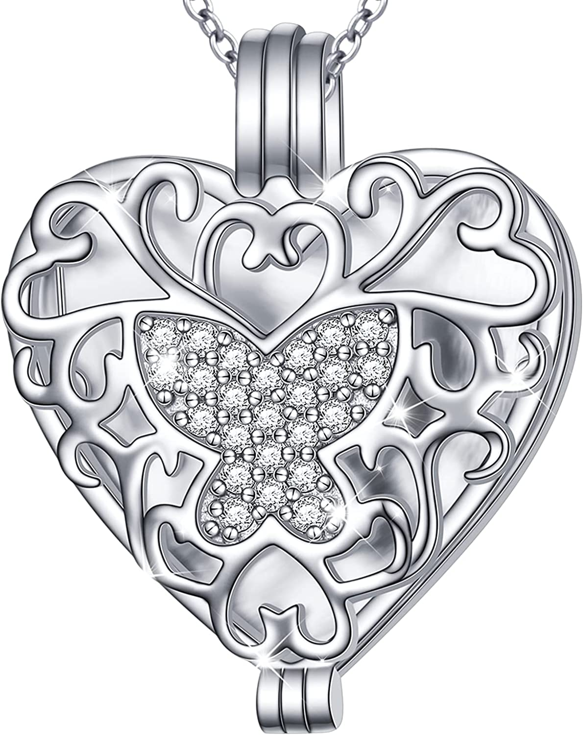Ladytree Butterfly Heart Locket Photo Hold Pendant Industry No. 1 Deluxe That Necklace
