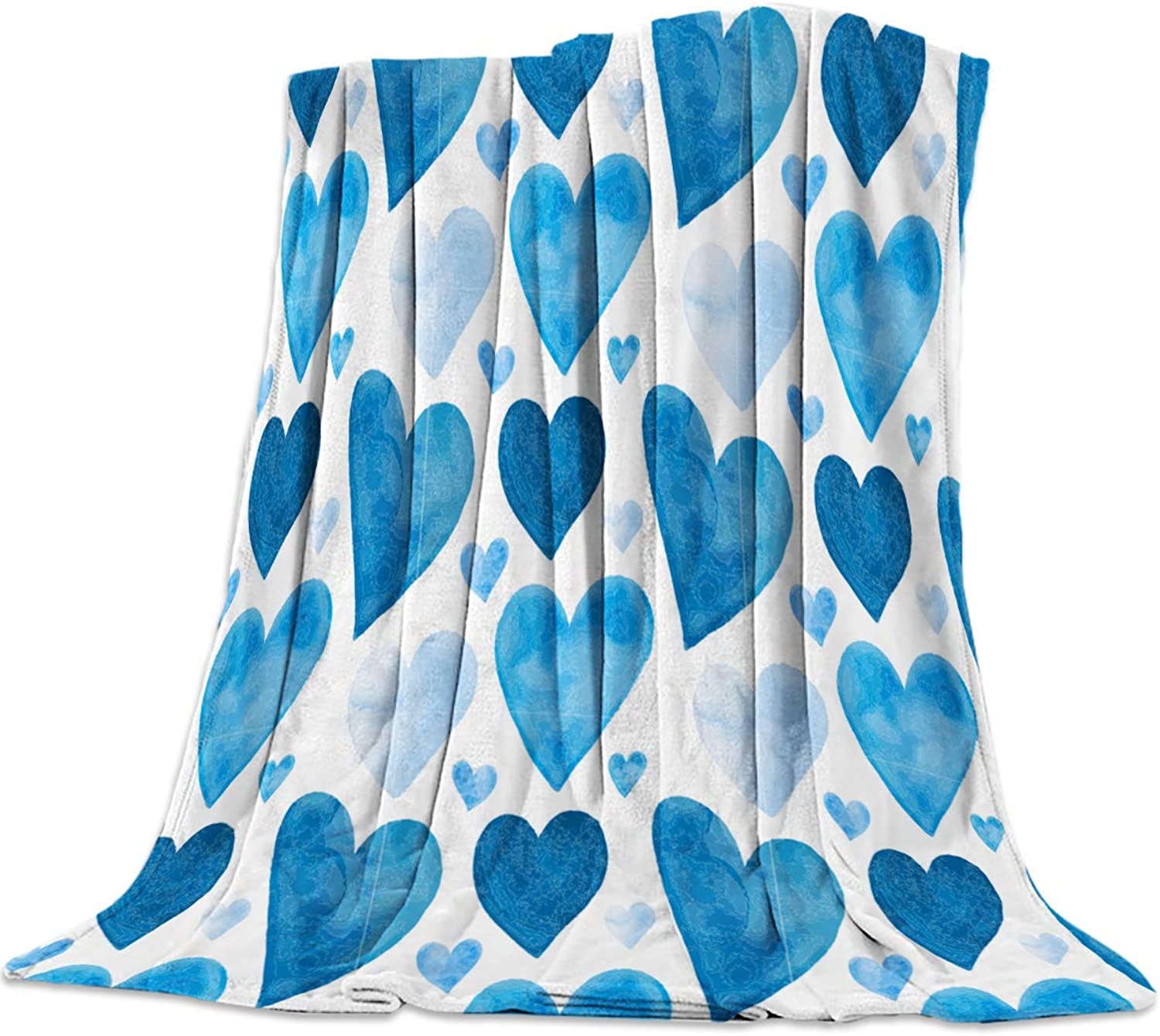 49x59 Inch Flannel Fleece Bed Blanket Soft ThrowBlankets for Girls Boys,bluee Shape of Heart Hand by Hand Heart Shape Valentine's Day,Cozy Lightweight Blankets for Bedroom Living Room Sofa Couch