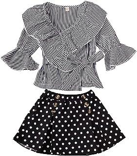BOIZONTY Toddler Kids Girl Skirts Set Striped Ruffle Flared Long Sleeve Shirt Top + Polka Dot Tutu Skirt Party Dress Outfit Clothes (Black Striped, 3-4 Years)