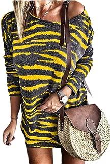 Women Striped Bodycon Dress Long Sleeve Pullover Knit Mini Dresses