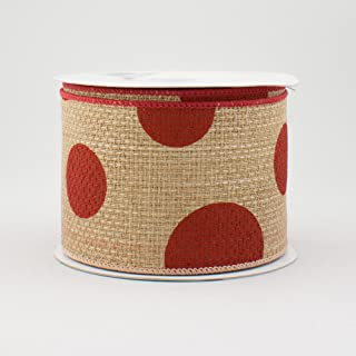 """2.5"""" Wide Expressions Faux Burlap Giant Polka Dot Wired Ribbon Natural With Red (10 Yards) Great For Lady Bug Themes, As W..."""