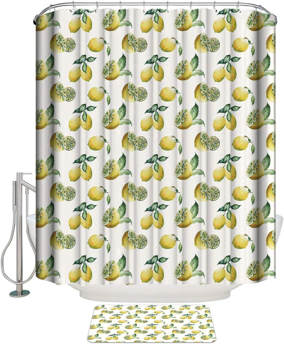 COLORSUM quality assurance 2 Pcs Sets Shower Curtains Yellow Lemon Fruits Translated Summer a