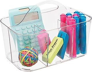 mDesign Koszyk z przegródkami i rączką na długopisy, kredki i akcesoria szkolne – Plastikowy przenośny organizer na biurko...