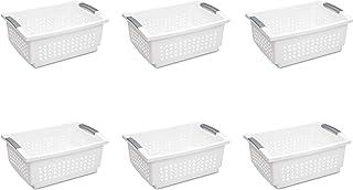 Sterilite 16648006 Large Stacking Basket, White Basket w/ Titanium Accents, 6-Pack