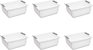 Sterilite 16648006 Large Stacking Basket, White Basket w/ Titanium Accents, 6-Pack