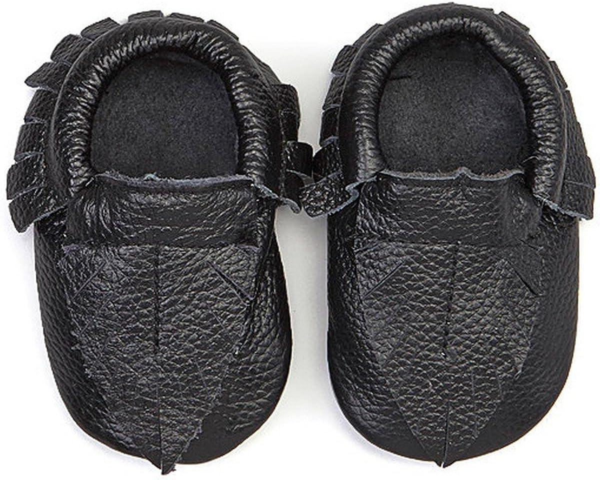 KHYKOUTURE Unisex-Child Black Leaf Leather Moccasin Bootie