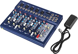 VEVOR 7 Channel Audio Mixer with 48V Phantom Power Mixing Console USB MP3 Audio Sound Mixer for Recording DJ Stage Karaoke Music Appreciation (7-channel)