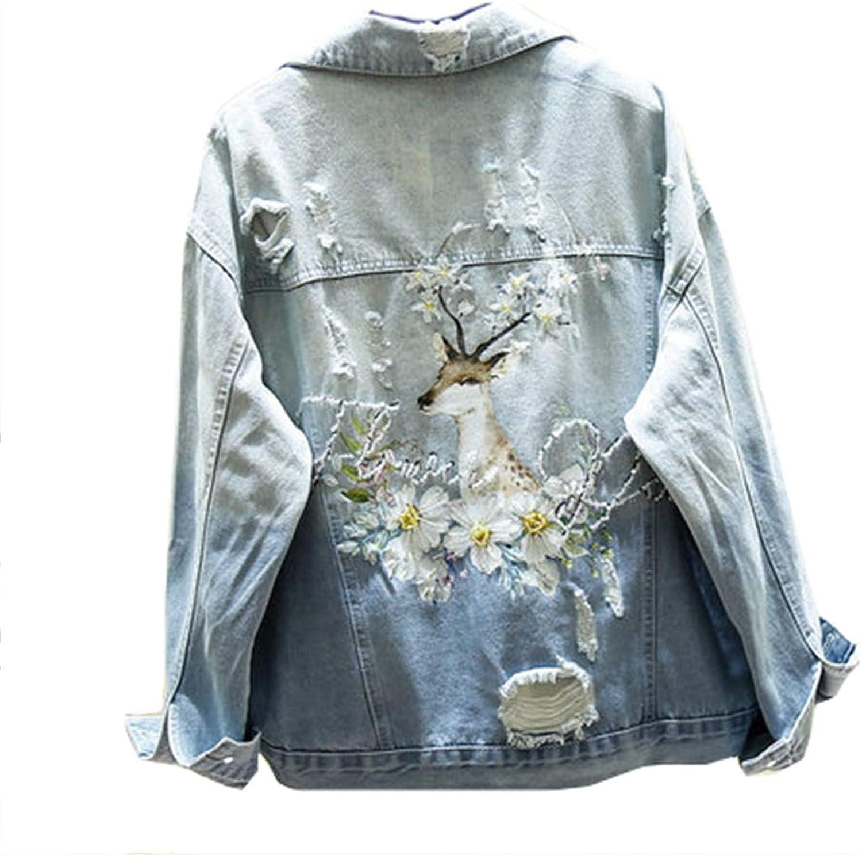 Spring Embroidery Animal Print Denim Coat Female Hole Ripped Beaded Jeans Jacket Streetwear
