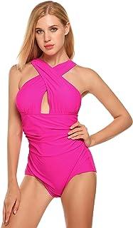 7aeec8c8274 Ekouaer Women's Sexy Front Cross Solid One-Piece Padding Bikini Bathing  Suit Halter Backless Swimsuit
