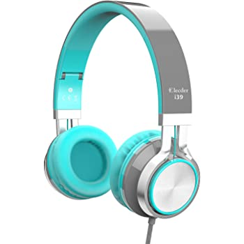 Elecder i39 Headphones with Microphone Foldable Lightweight Adjustable On Ear Headsets with 3.5mm Jack for iPad Cellphones Computer MP3/4 Kindle Airplane School (Mint/Gray)