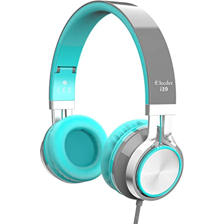 Elecder i39 Headphones with Microphone Foldable Lightweight Adjustable On Ear Headsets with 3.5mm Jack for Cellphones Computer MP3/4 Kindle School (Mint/Gray)