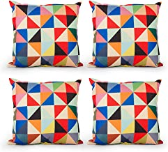 Top Finel Square Decorative Throw Pillow Covers Cotton Linen Outdoor Cushion Covers 18 X 18 for Sofa, Set of 4 - Triangle