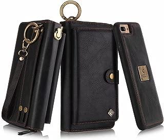 Petocase Compatible iPhone 8 Plus/iPhone 7 Plus Wallet Case, Multi-Function Zipper Purse Detachable Magnetic Back Cover Wristlets 13 Card Slots & 4 Cash Pocket for Apple iPhone 8 Plus/7 Plus, Black