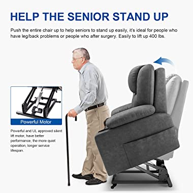 Furgle - Power Lift Recliner Chair with Massage - Fiber Fabric Cloth Lift Chair - Recliner for Elderly - 2 Side Pockets and C