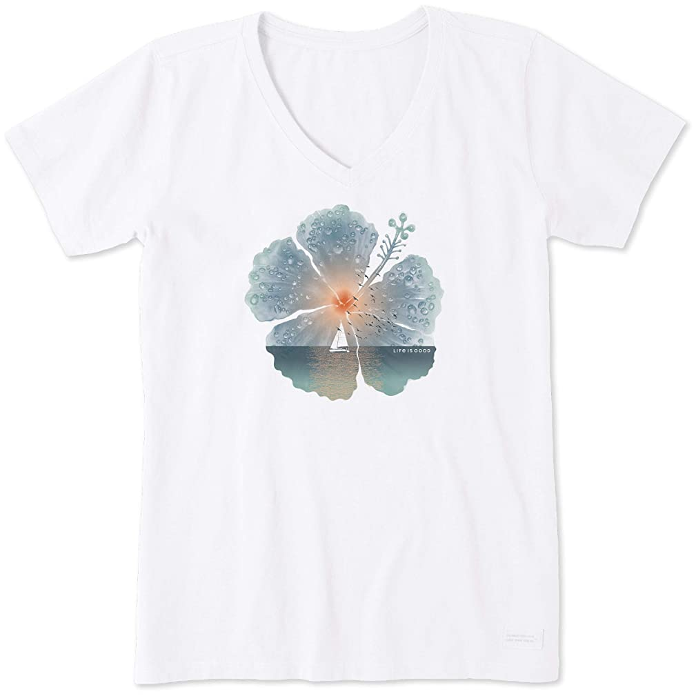 Life is Good Womens Flower Garden Graphic T-Shirt V-Neck Collection